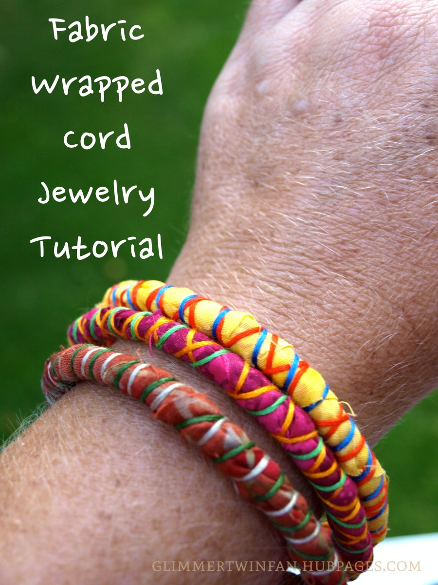 These bright fabric wrapped cord bracelets are the perfect accessory for almost any outfit.  This easy to follow tutorial shows you how to make them.