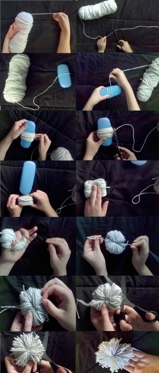 Βήμα-βήμα οπτικές οδηγίες για την κατασκευή poms pom σας.  Για να είναι πιο εύκολο να δείτε, ένα γαλάζιο περίπτωση γυαλιά χρησιμοποιήθηκε.