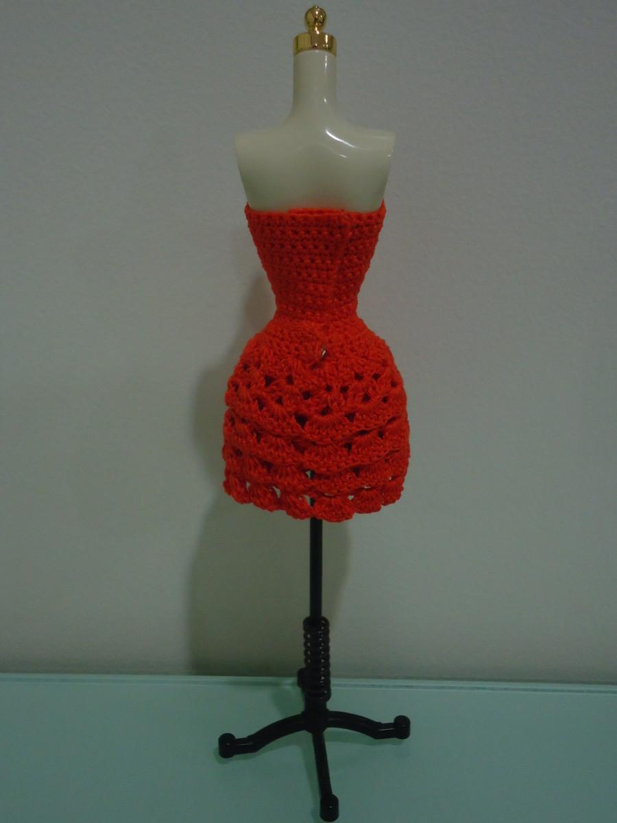 Back view of the Barbie Strapless Layered Dress