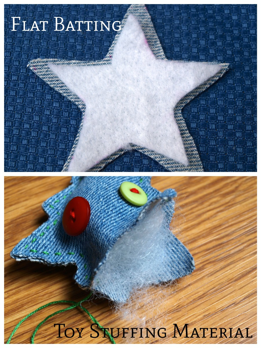 There are 2 ways to fill the ornament, one is with quilt batting and the other is with toy stuffing.