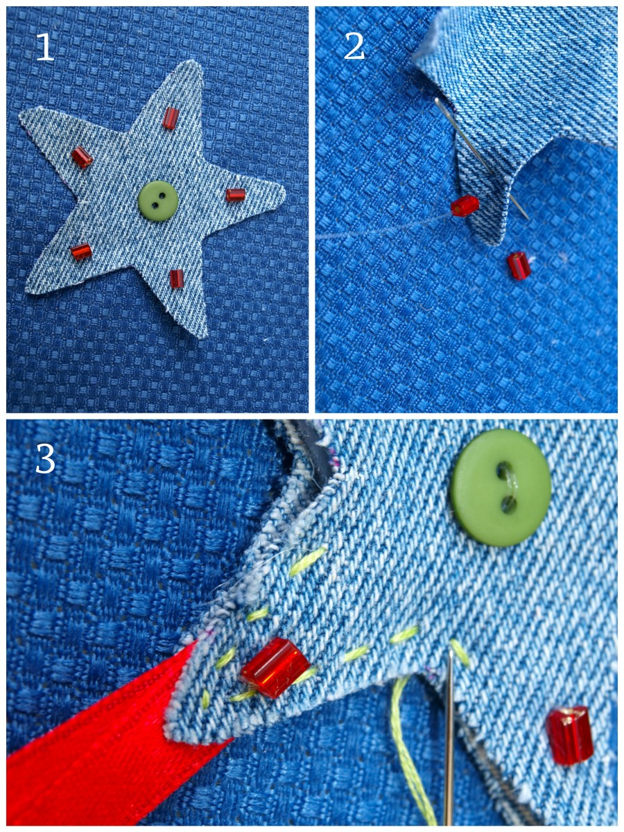 Embellish the ornament and then sew all the pieces together.
