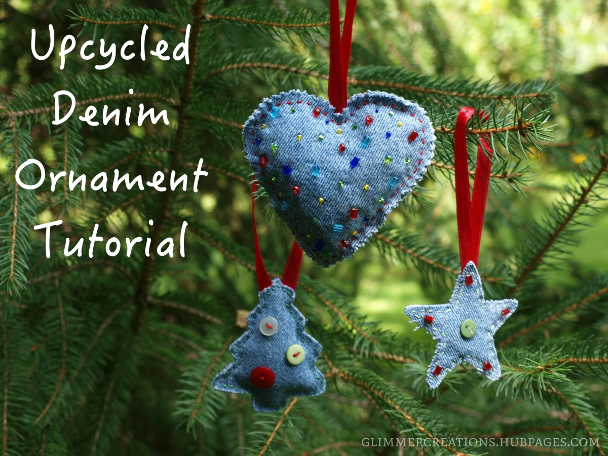 These ornaments are made from recycled jeans and add a fun, homemade touch to any Christmas tree.