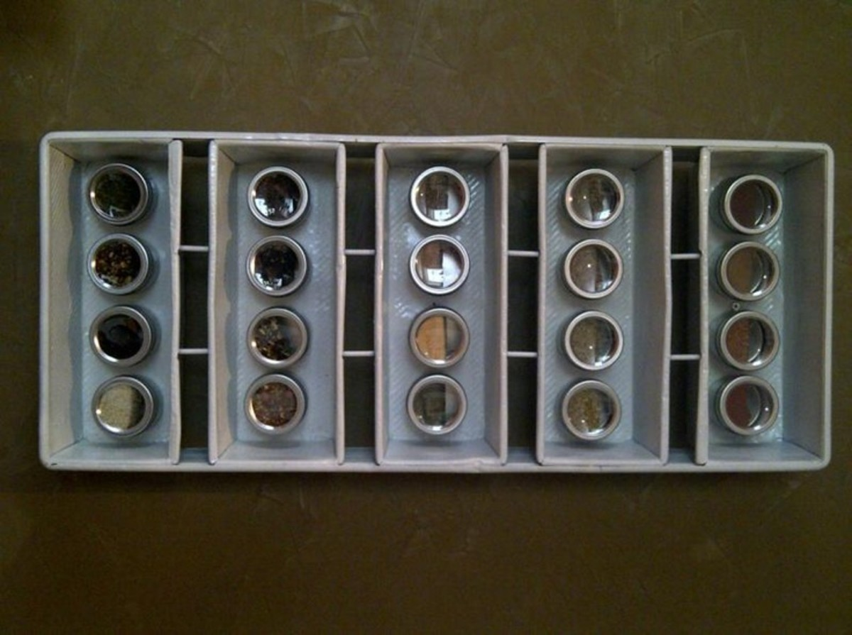 Handy dandy backdrop for magnetic spice jars