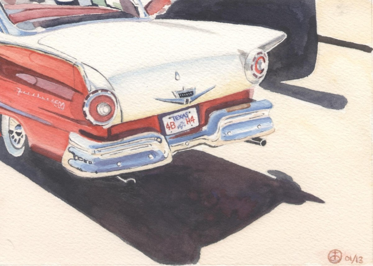 """Fin Again"" watercolor 5x7"""
