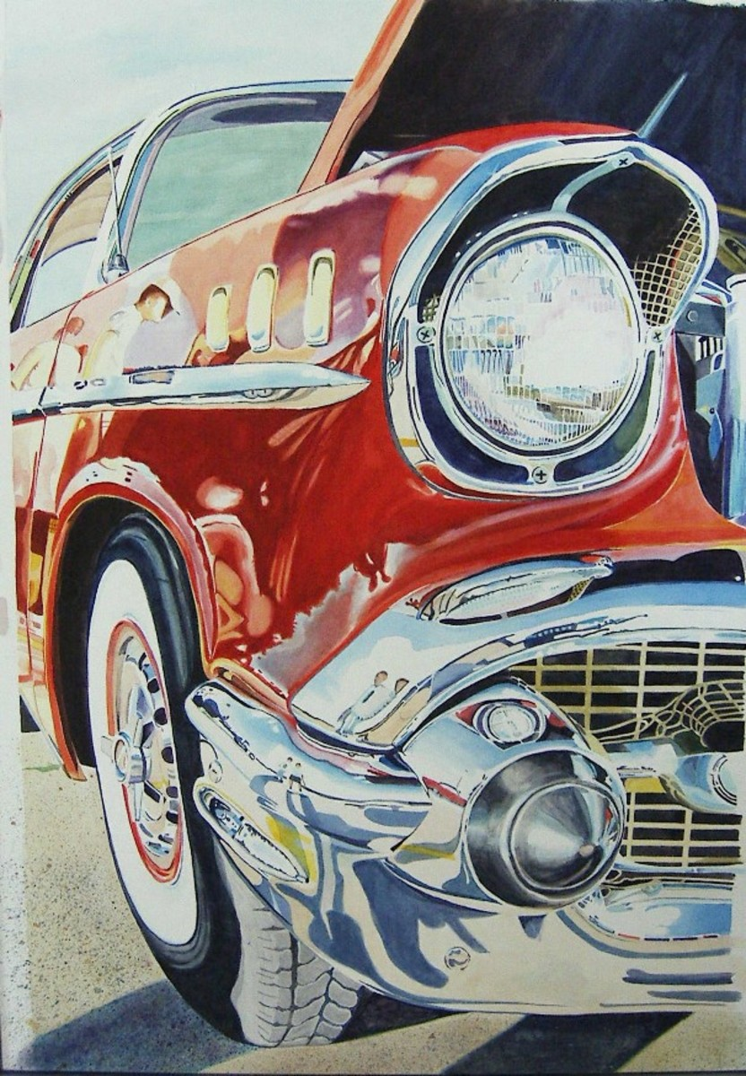 """Fifties Fender II"" 30x20"" Watercolor"