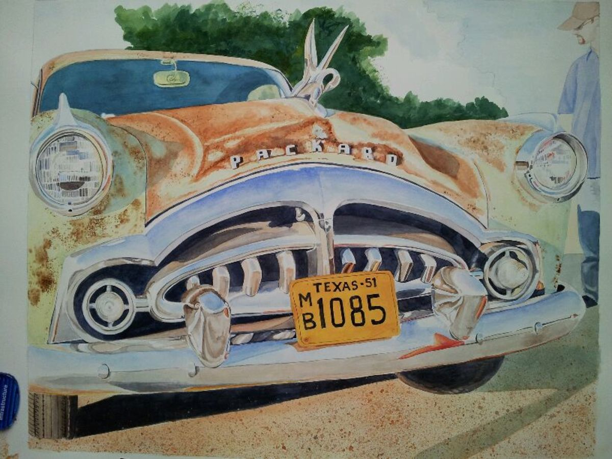 "This is a painting in progress, ""'51 Packard"" watercolor 16x20"""