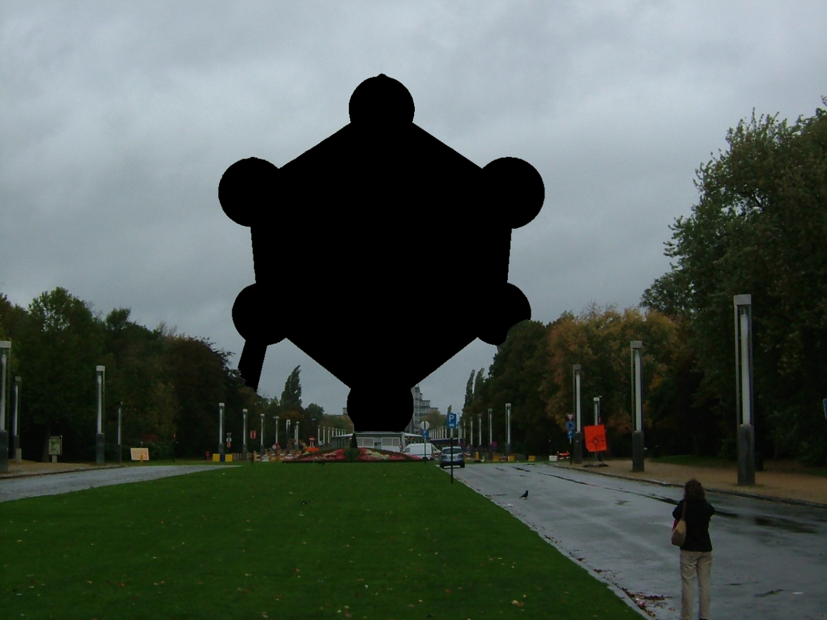 Censorship of Atomium with the monument blackened out.  https://commons.wikimedia.org/wiki/User:Romaine