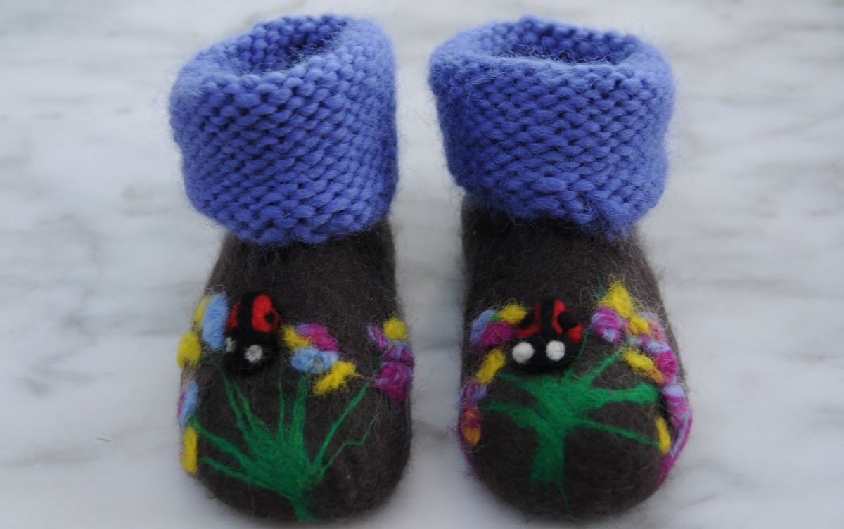 The completed Bootie.  The knitting will become felted as it was made with yarn intended for that purpose.