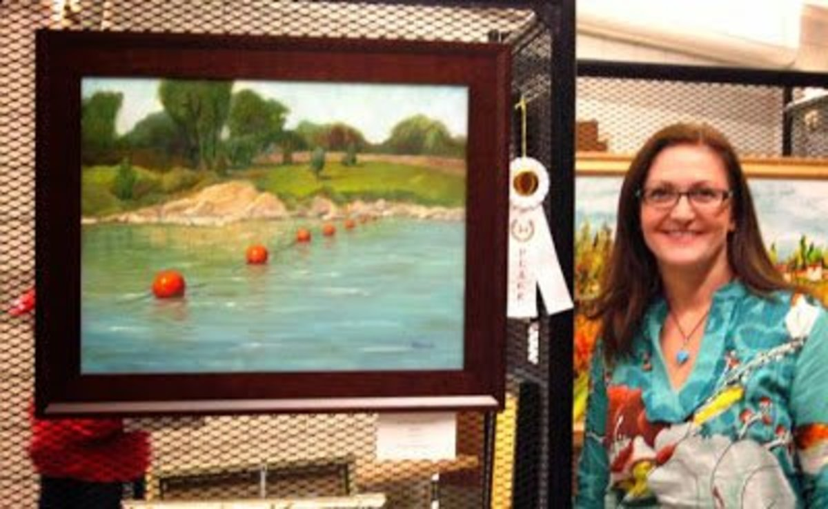 Me and one of my landscape paintings. Here I simplified quite a bit. There was a building in the background, the fence was intricate, and the trees were distributed differently.