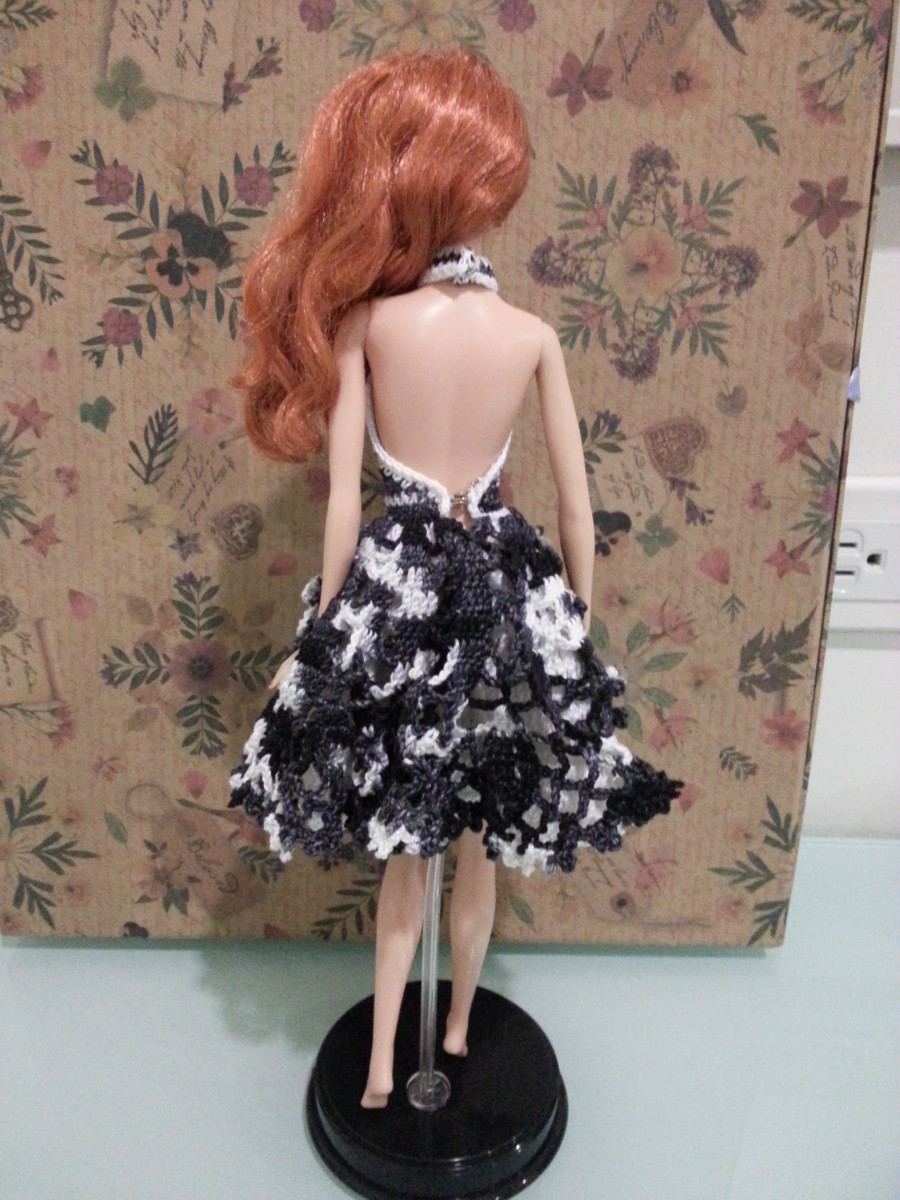 Back View of Barbie Doily Cocktail Dress