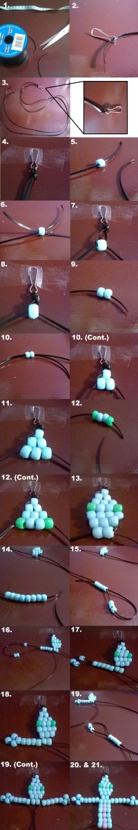 Steps 1 through 21 of making a beaded lizard key chain.