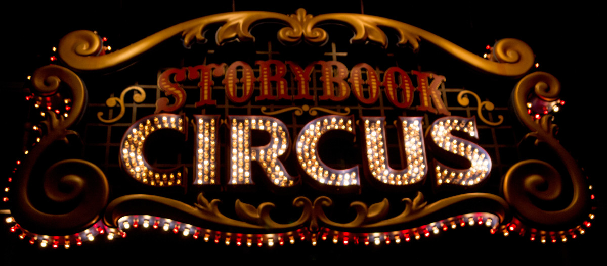 Entrance sign to Storybook Circus Fantasyland.