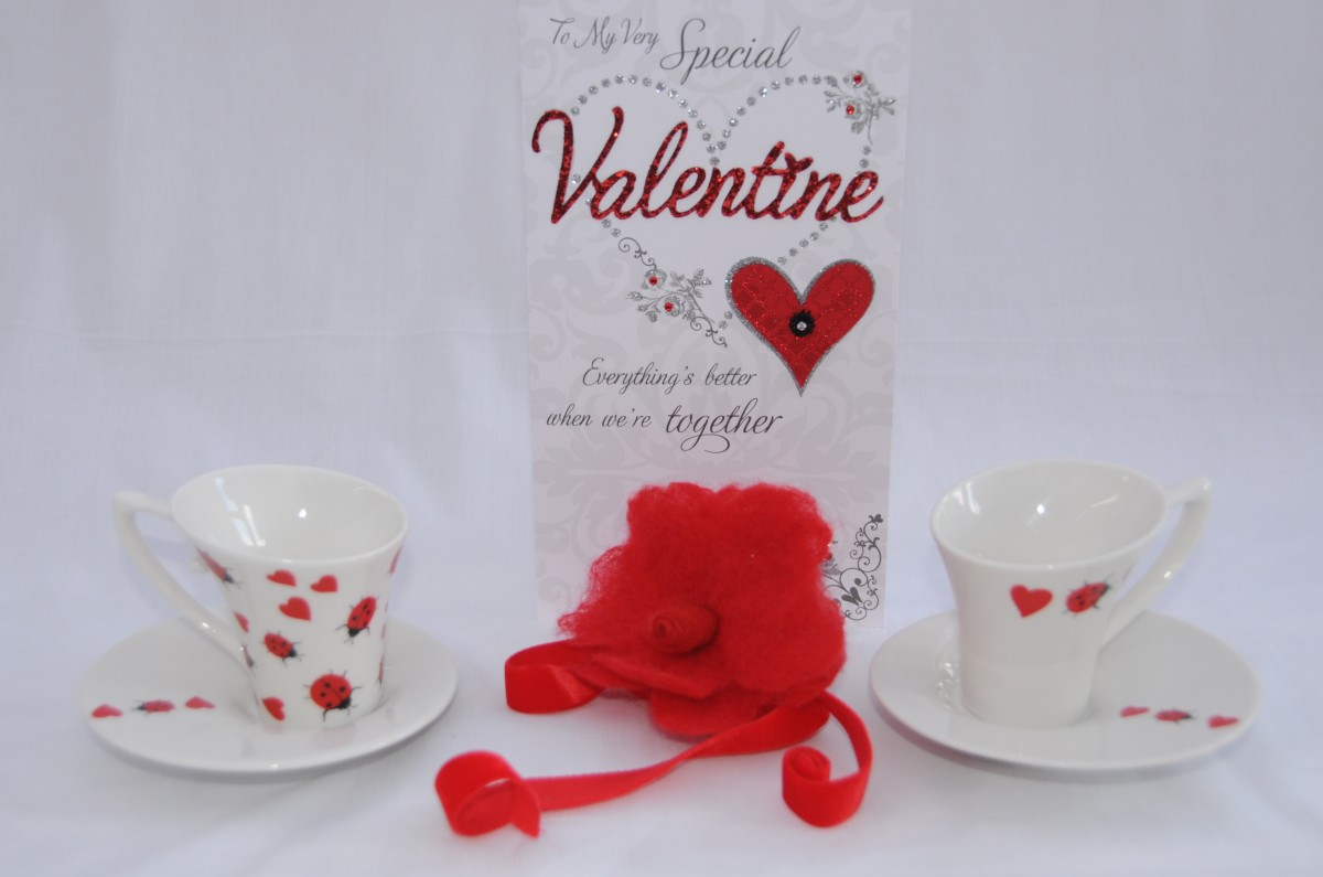 My inspiration! The cute little hearts and ladybugs on the cups and saucers.