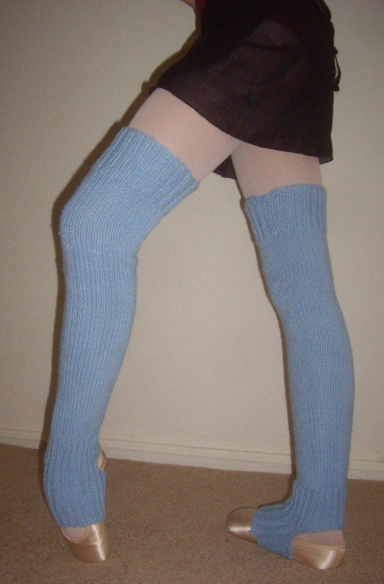 Leanne's leg warmers, knit in the round.