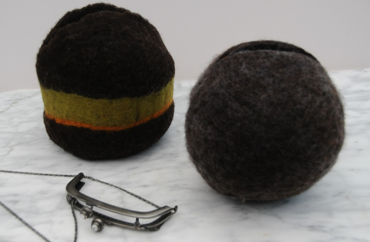 Two wet felted shoulder bags which were made on a Gertie ball