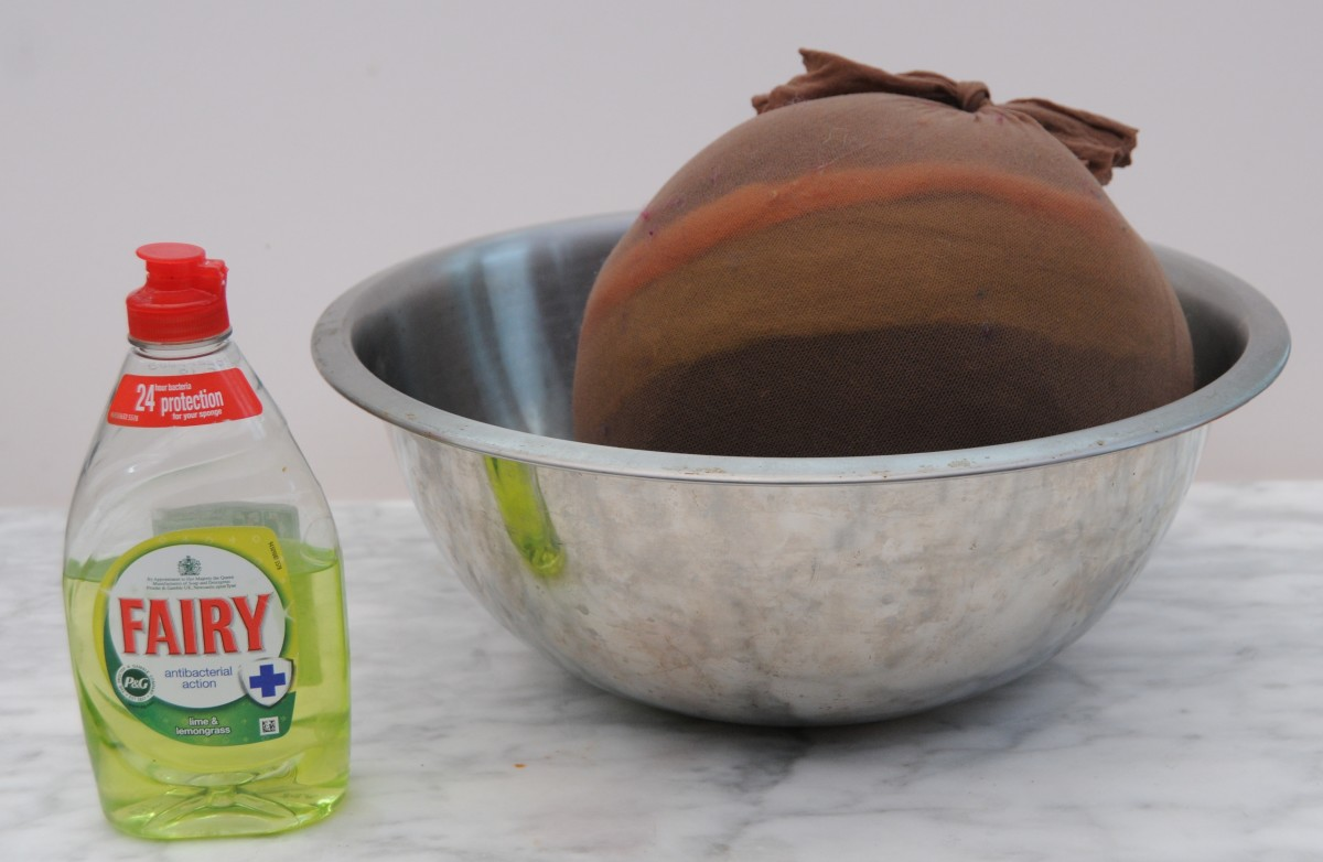 A stainless steel bowl, dish washing liquid and the project.