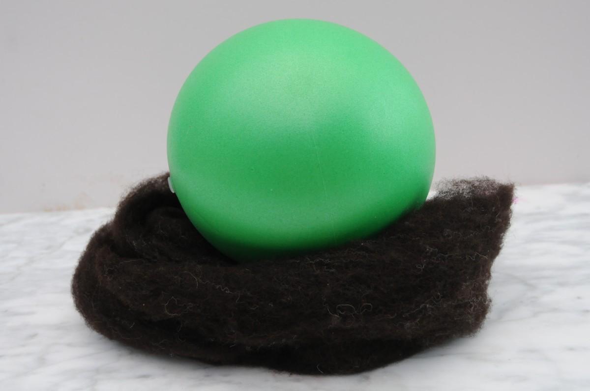 Inflated Gertie ball and Jacob's fleece