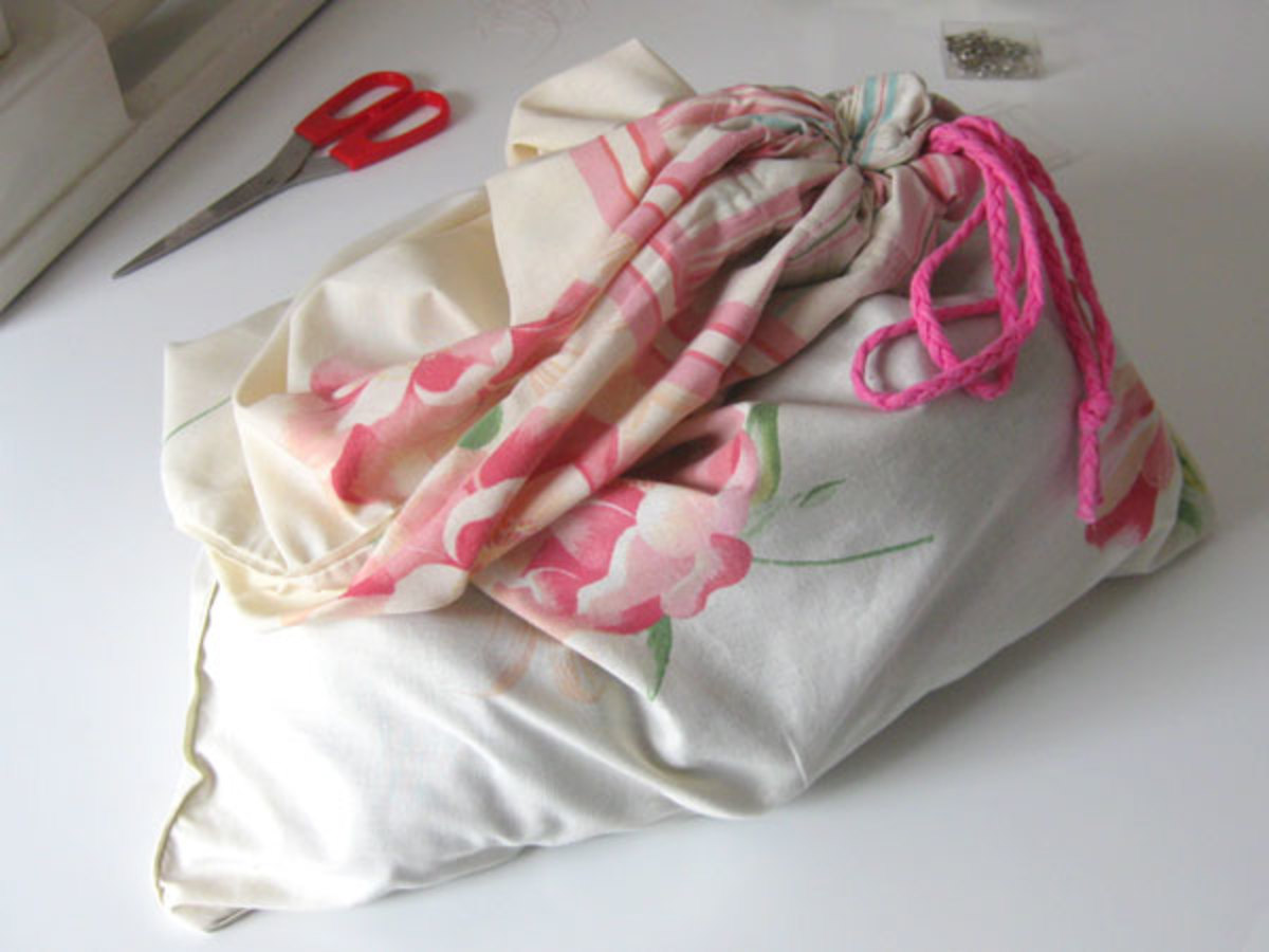 The finished bra bag, with washing in it.