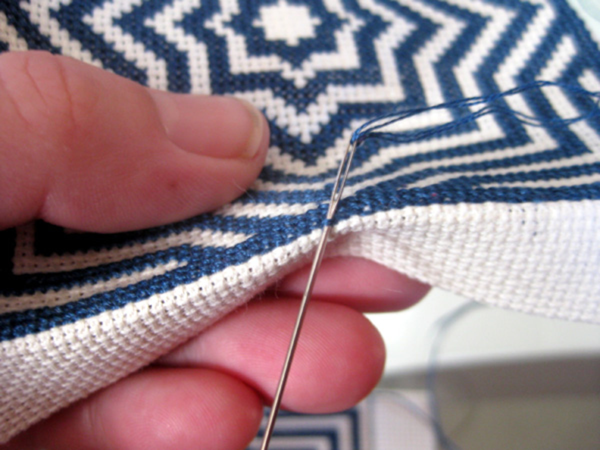Work from top to bottom and sew the needle through the centre backstitch of the middle of Side 1.