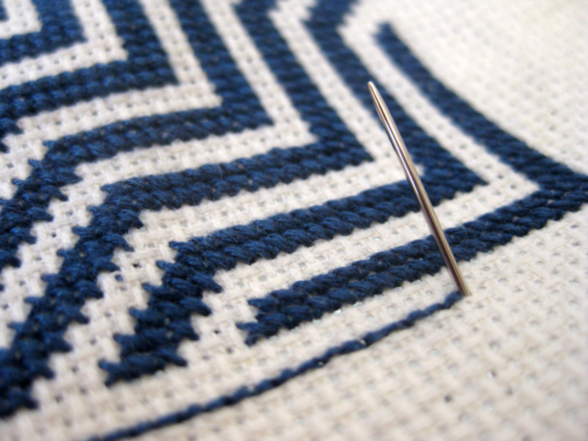 Step D: Bring the needle up at the end of the stitching and start at the beginning of the backstitching method.