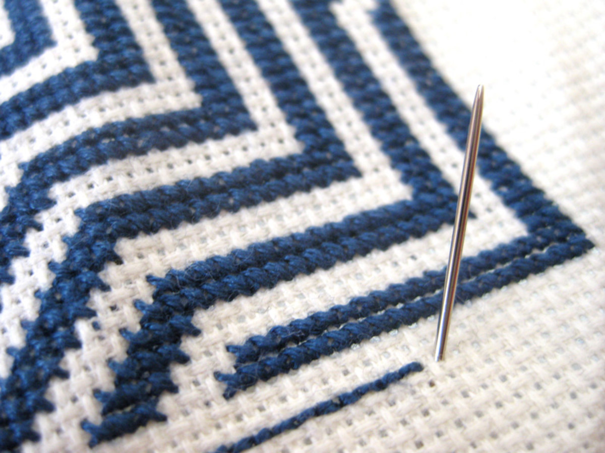Step B: Bring the needle up after one blank Aida square.
