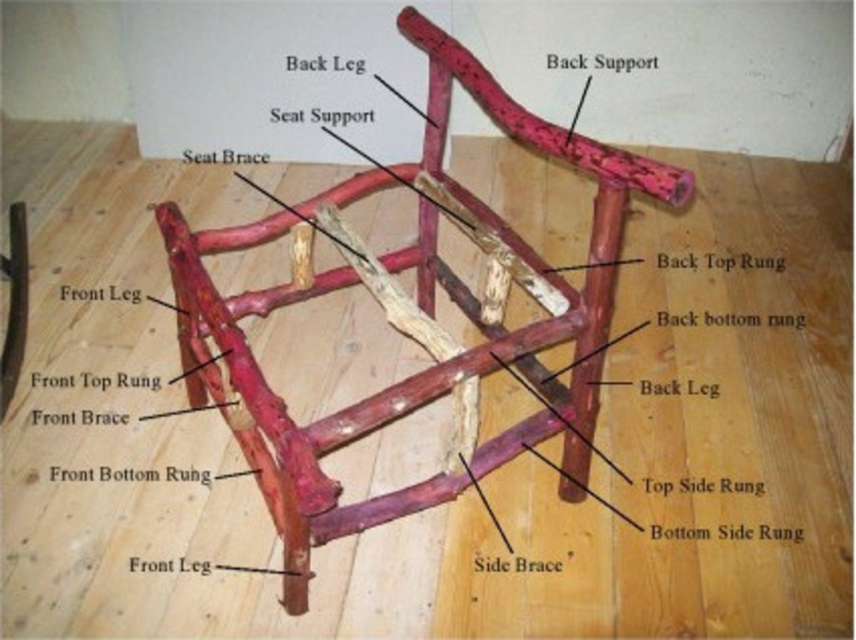 Completed chair frame--except for slanted braces--with parts labeled