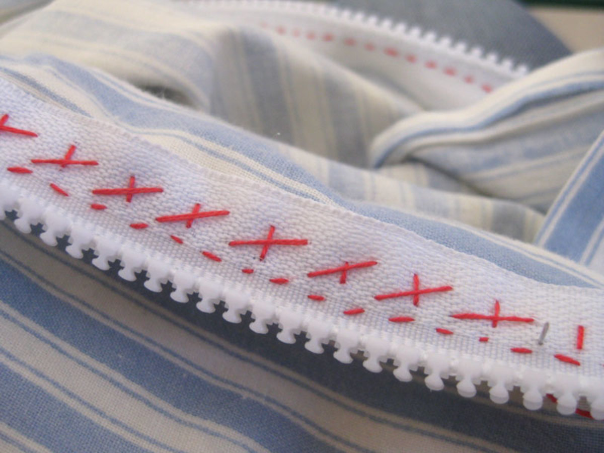 What the cross stitch looks like on the back - see how it holds the zip edges in place?