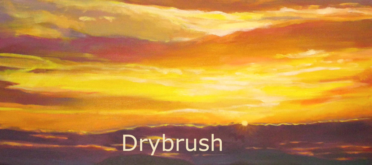 """The highlights on this sunset sky are done with the drybrush technique. (painting """"Thankful Ending"""" by Robie Benve, detail.)"""