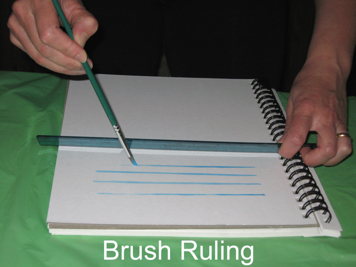 Brush Ruling: A tilted ruler serves as support to paint straight lines.