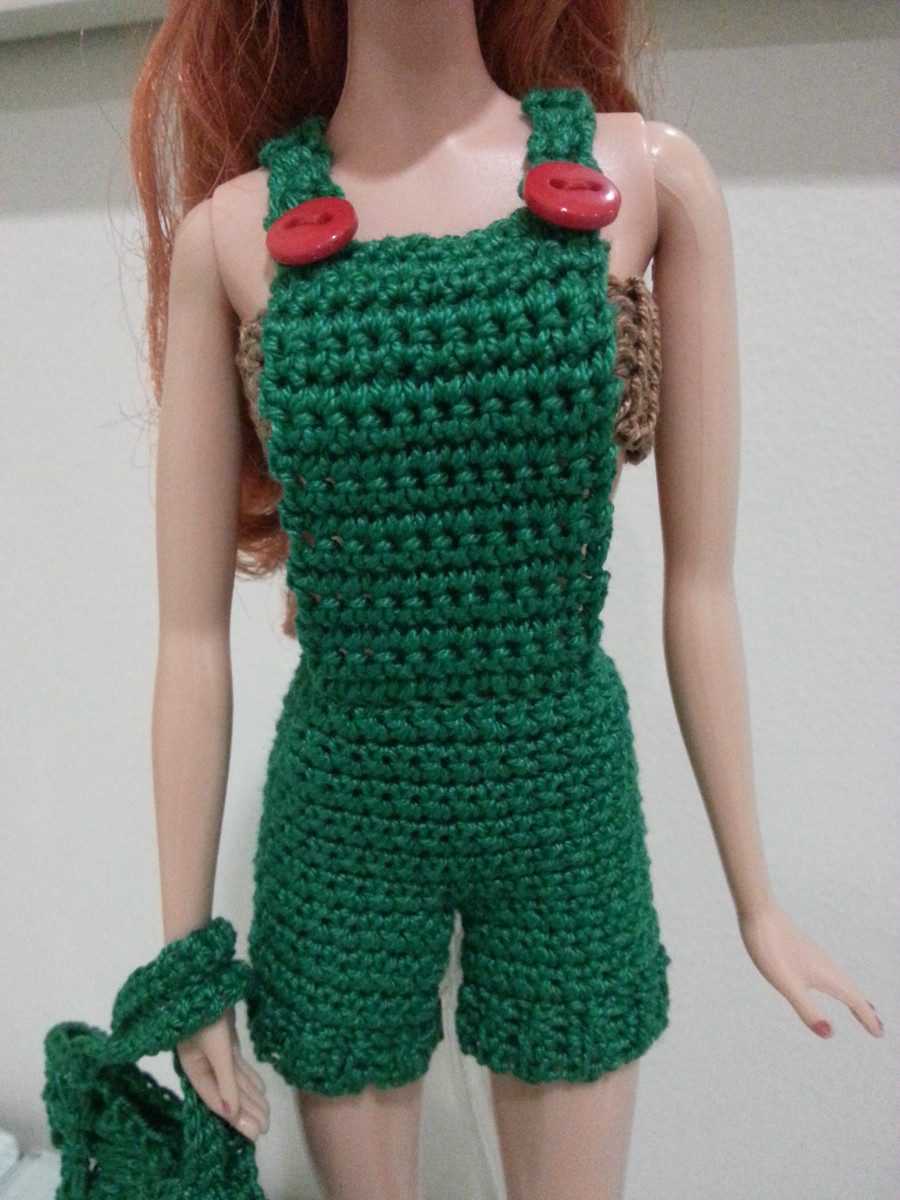 Close up view of Barbie Basic Overalls