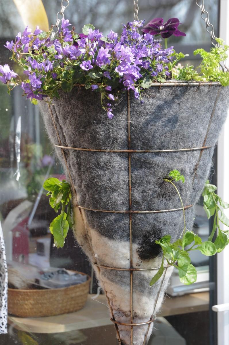 Wet Felted Handing Basket