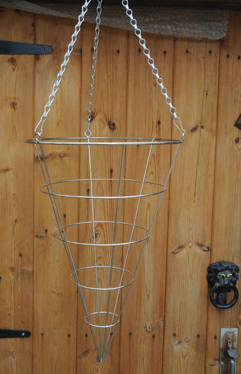 Cone shaped metal hanging basket