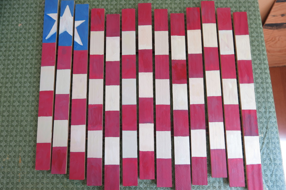Flag pieces laid out to create a wave pattern