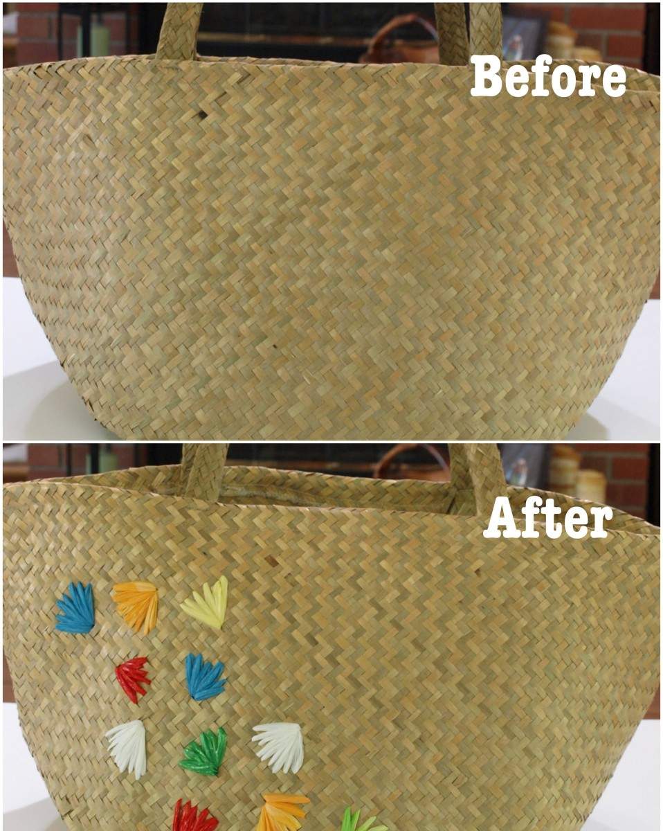 Before and after embellishing a straw bag with recycled plastic bags!  A little bit of a retro look to jazz up a plain straw tote.