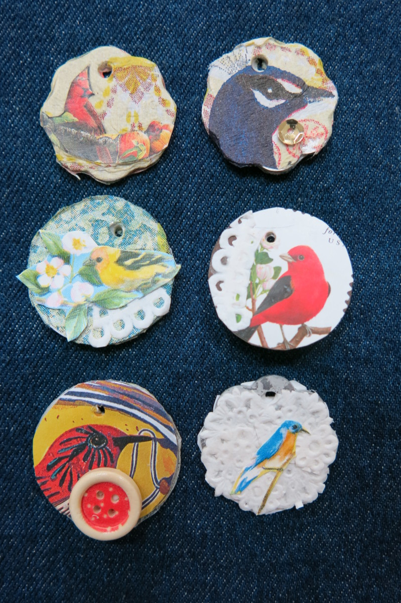 Layering items makes pretty decorative charms for jewelry projects