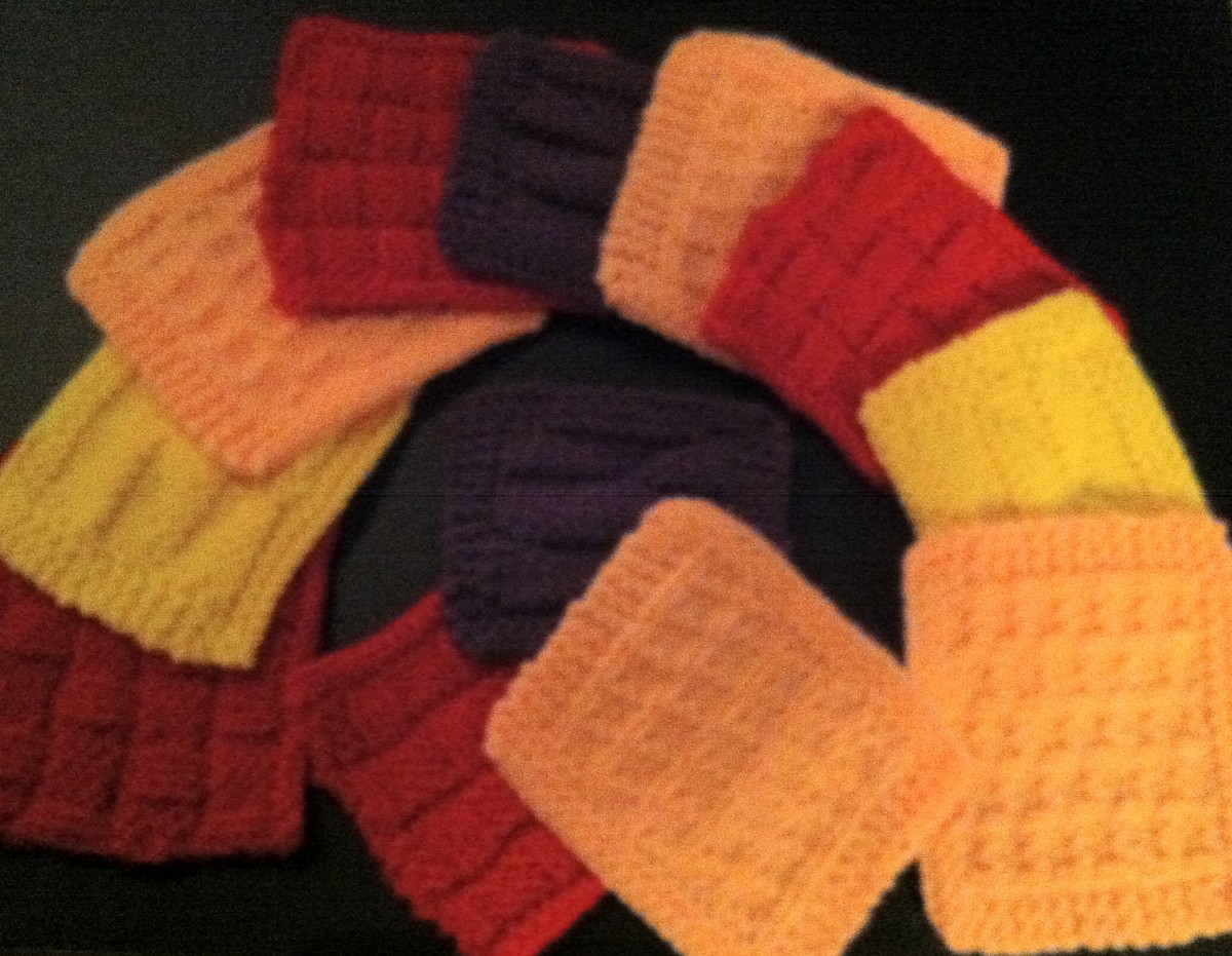 A Summary Picture with All 12 Coasters that you can make with these 3 free knitting patterns for coasters. Very pretty and colorful!