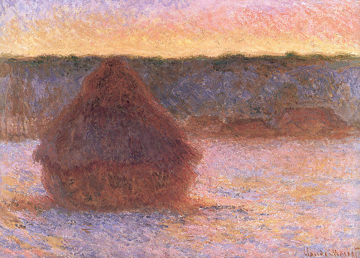Haystacks-at-sunset-frosty-weather - Monet, 1891