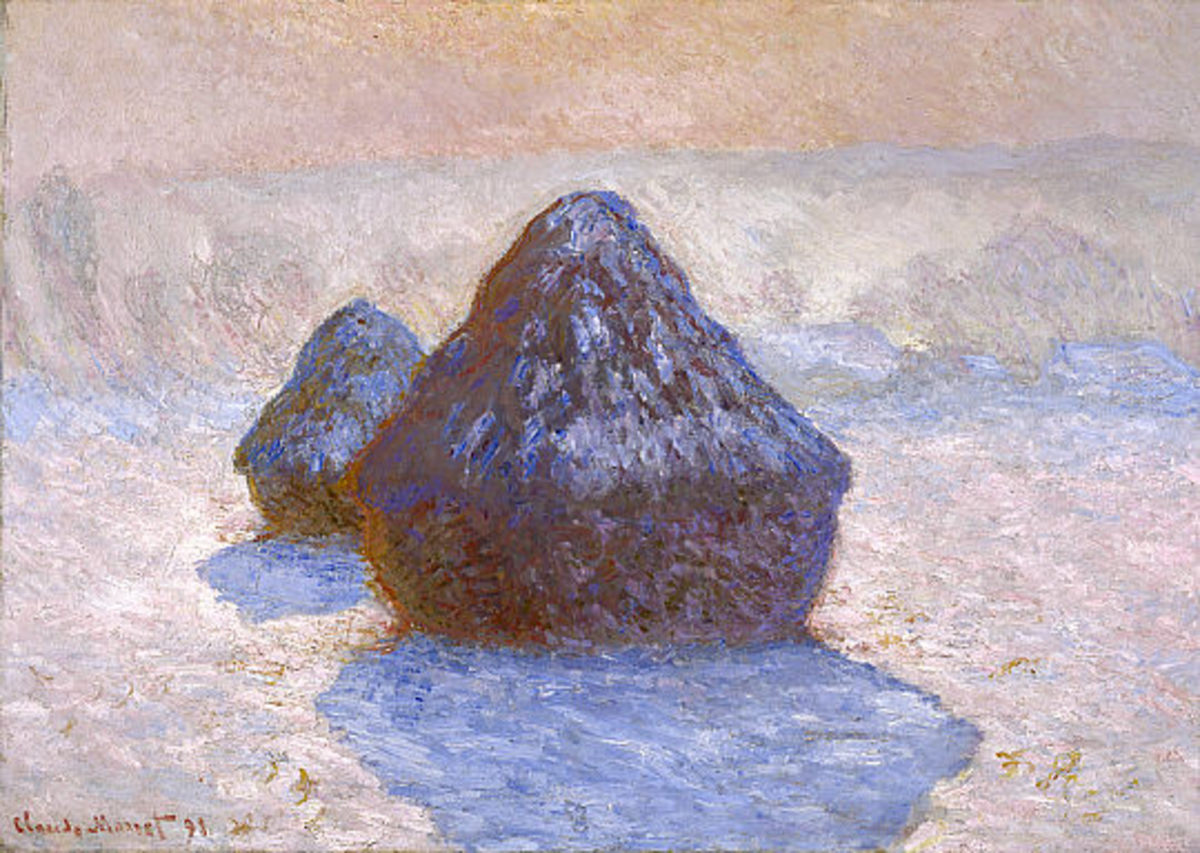 Haystacks: Snow Effect (1891) by Claude Monet, National Gallery of Scotland, Oil on canvas, 65.00 x 92.00 cm, 1891