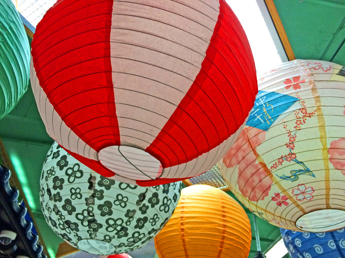 Colorful lanterns in a Chinese market in Seattle