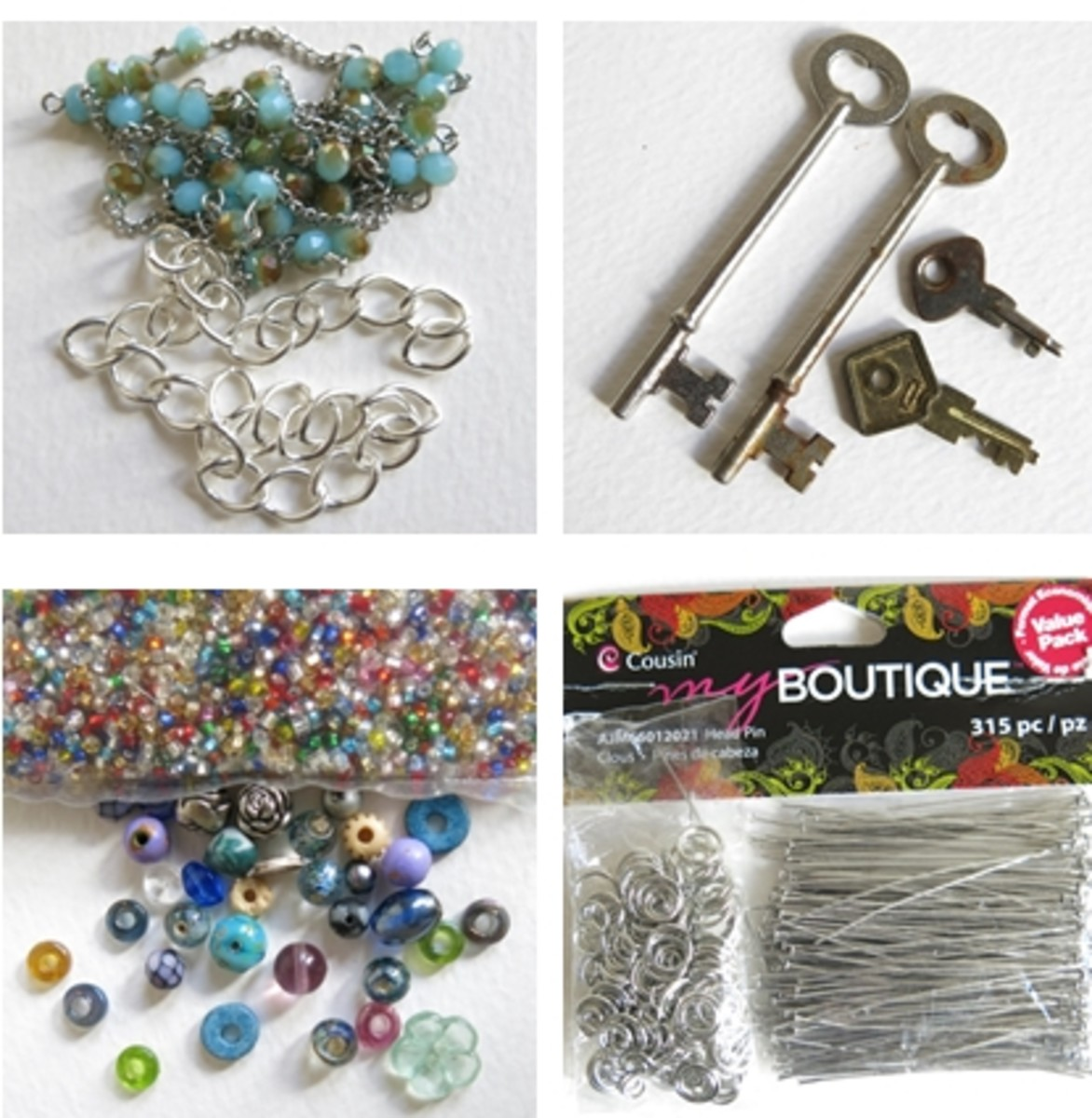Materials for making a skeleton key necklace with beads
