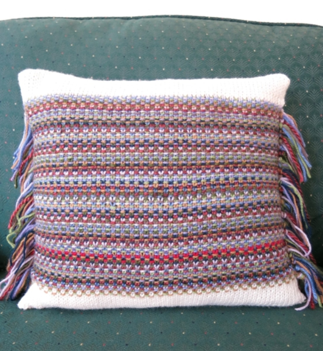 Free Knitting Pattern for Confetti Fringe Pillow Cover