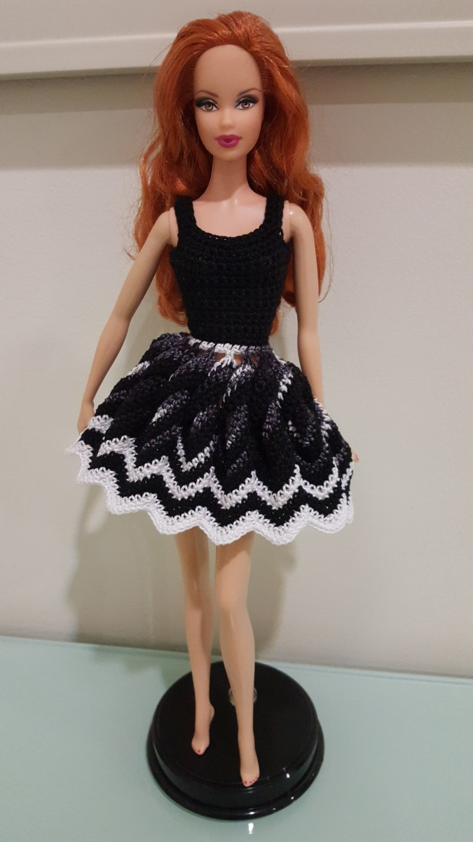 Barbie Twisted Chevron Dress with the skirt pulled open.