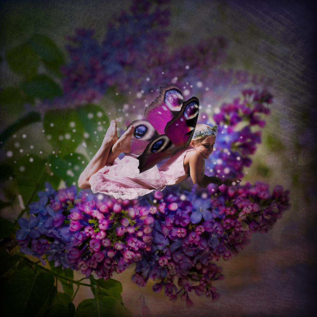 My niece Carrie as a fairy.