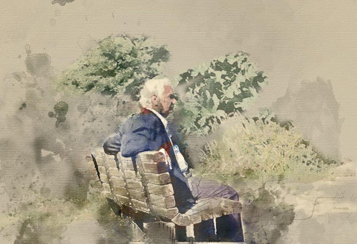 Elderly.  Watercolor Photoshop Action