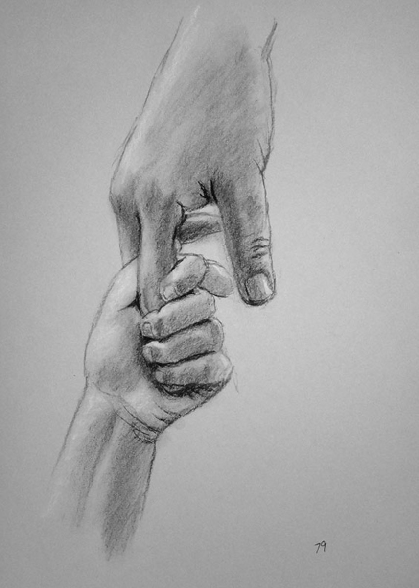 Charcoal drawing of hands.  #79