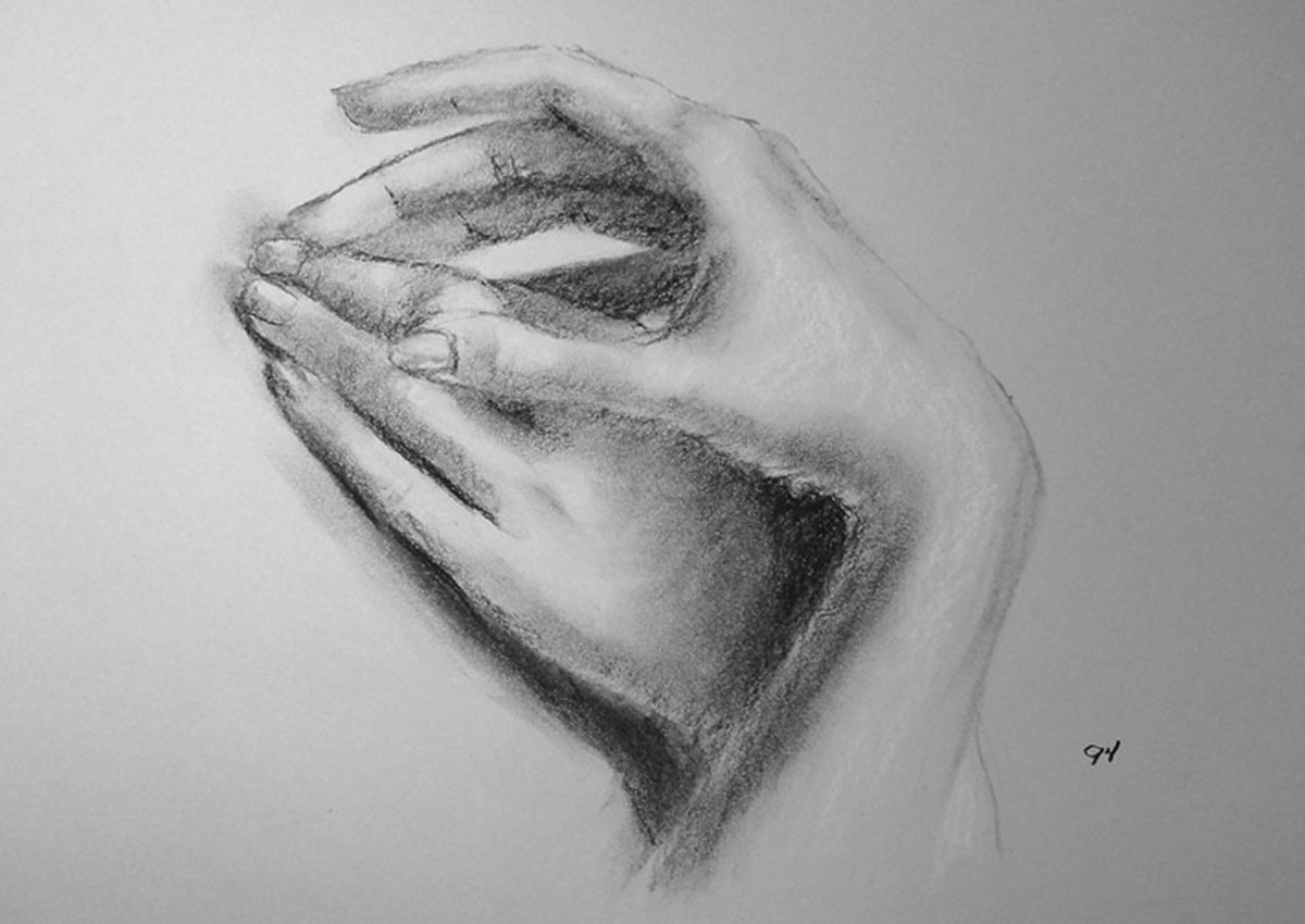 Charcoal drawing of hands.  #94