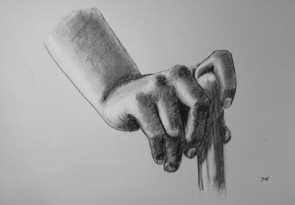 Charcoal drawing of a hand. #74