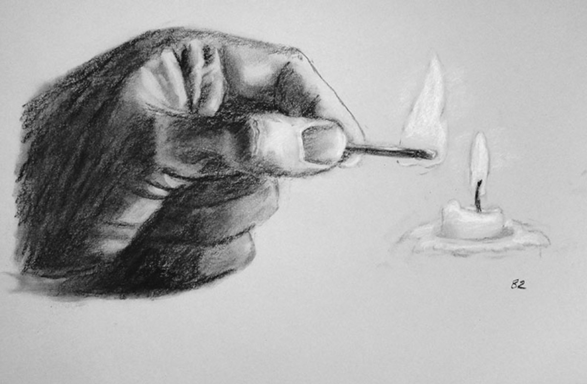 Charcoal drawing of a hand.  #82