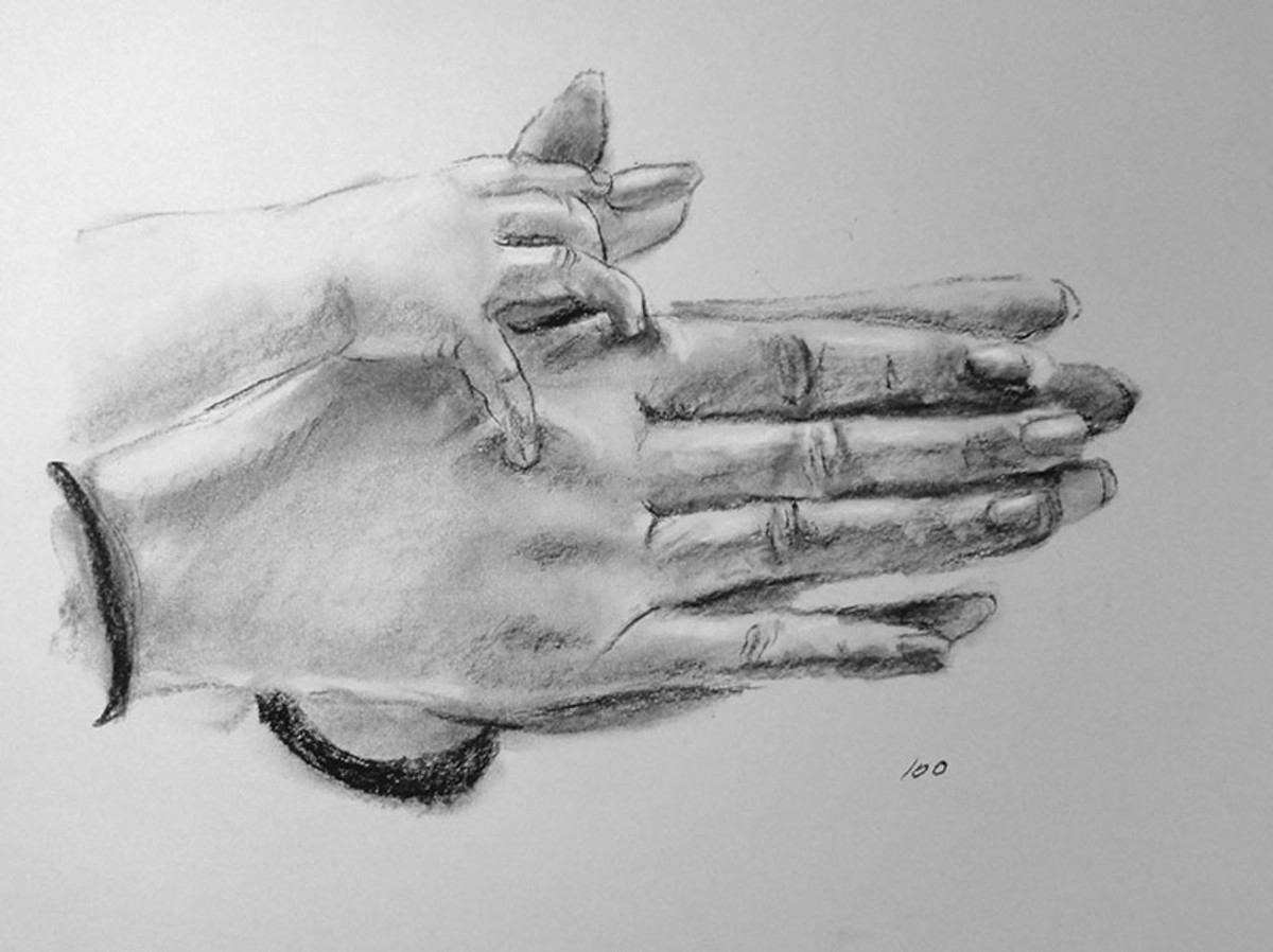 Charcoal drawing of hands.  #100