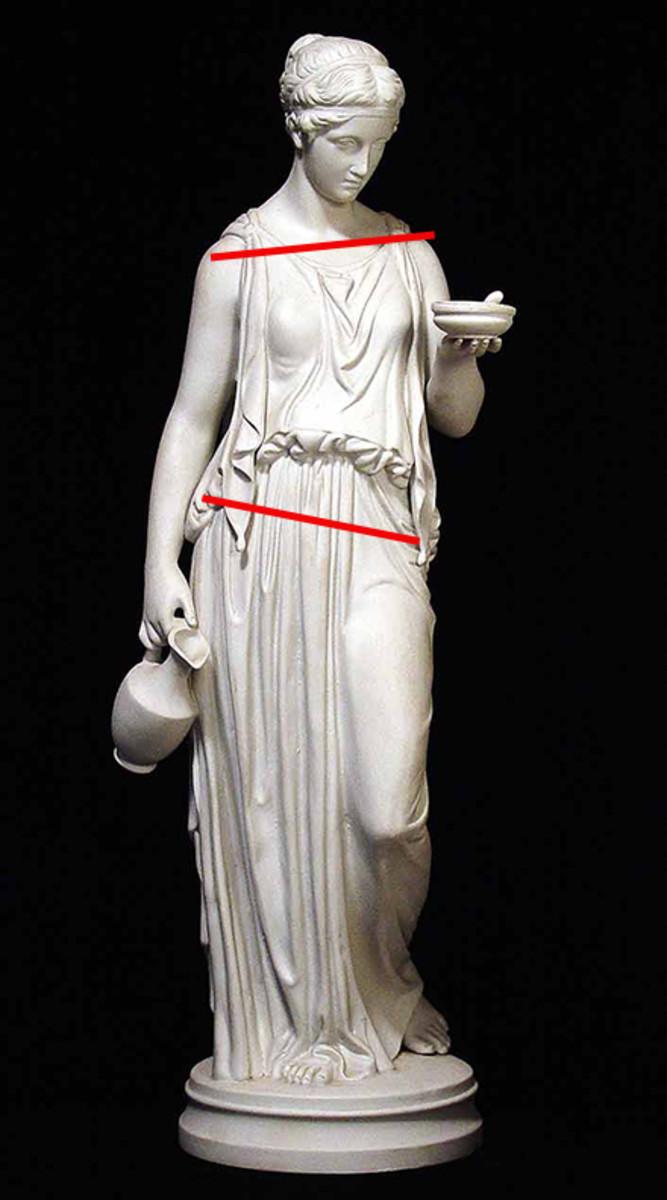 Greek statue in contrapposto pose.